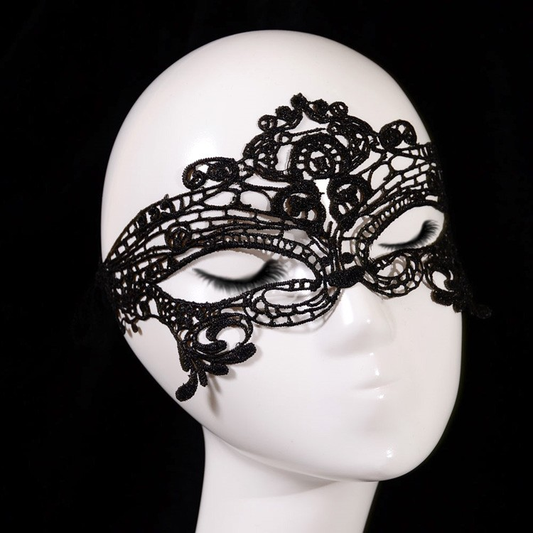 Sexy Goth Black Flower Fox Crown Lace Face Masquerade Lady Eye Mask Hair Headband Ribbon Halloween Costume Ball Party Accessory(China (Mainland))