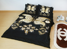 JF-057 *Home textiles Black and golden butterfly 3D bedding sets king size white flower duvet cover bedclothes(China (Mainland))