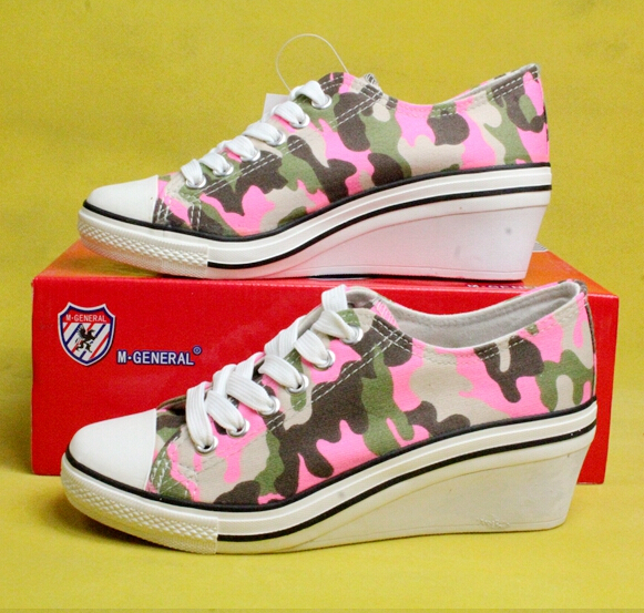 Women fashionable casual canvas elevator shoes high top ...
