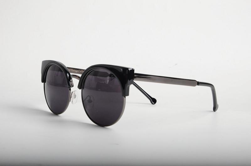 Fashion Retro Designer Super Round Circle Glasses Cat Eye Semi-Rimless Sunglasses Glasses Goggles Oculos de sol Free Shipping(China (Mainland))