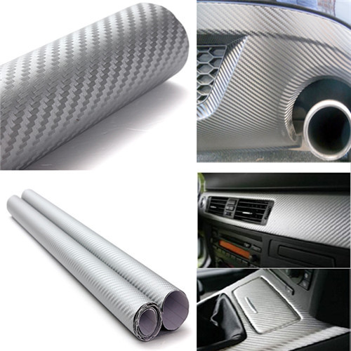 30x127cm Waterproof Car Decal Carbon Fiber Vinyl DIY Wrap Sheet Roll Film Sticker Decal car styling accessories free shipping(China (Mainland))