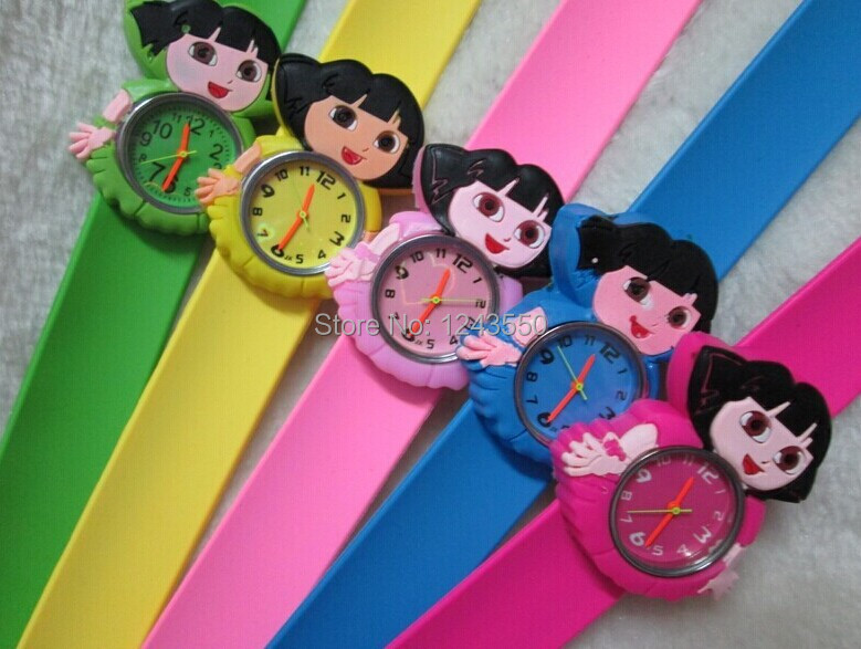 New Beautiful Dora Slap Watches Cartoon Silicon Kids Watch Good quality Free shipping 30pcs<br><br>Aliexpress