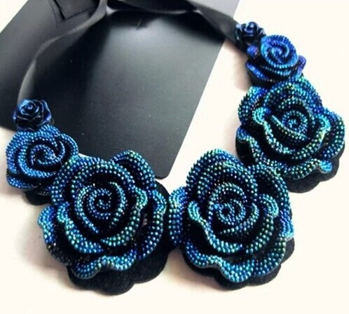 2014 New Hot jewelry Colorful Crystal Blue Flower Necklace Woman Pop Star Necklaces & Pendants - Mamojko Store store