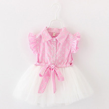 2016 summer new baby girl dress fly sleeve 1 year birthday dress flower newborn girls clothes suit 1-4Y vestido infantil