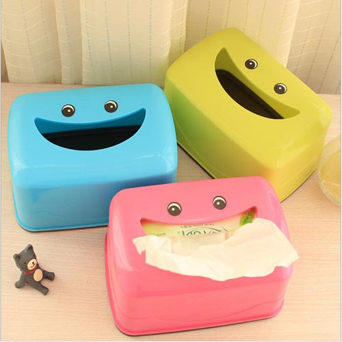 New Lovely smiling face big mouth plastic tissue box napkin cover holder car toilet paper holder home decoration Home97(China (Mainland))
