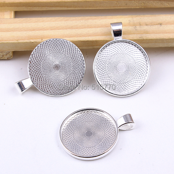 500pc 25MM Antique Silver Round Pendant Tray,Cameo Setting,Bezel Tray,Round Cabochon Tray Blank for Cabochons free shipping