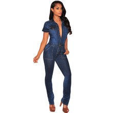 2016 Fashion macacao feminino Work Wear Office Jeans Longo Rompers Dark Denim Button Down Jumpsuit Overalls Full Length LC64110