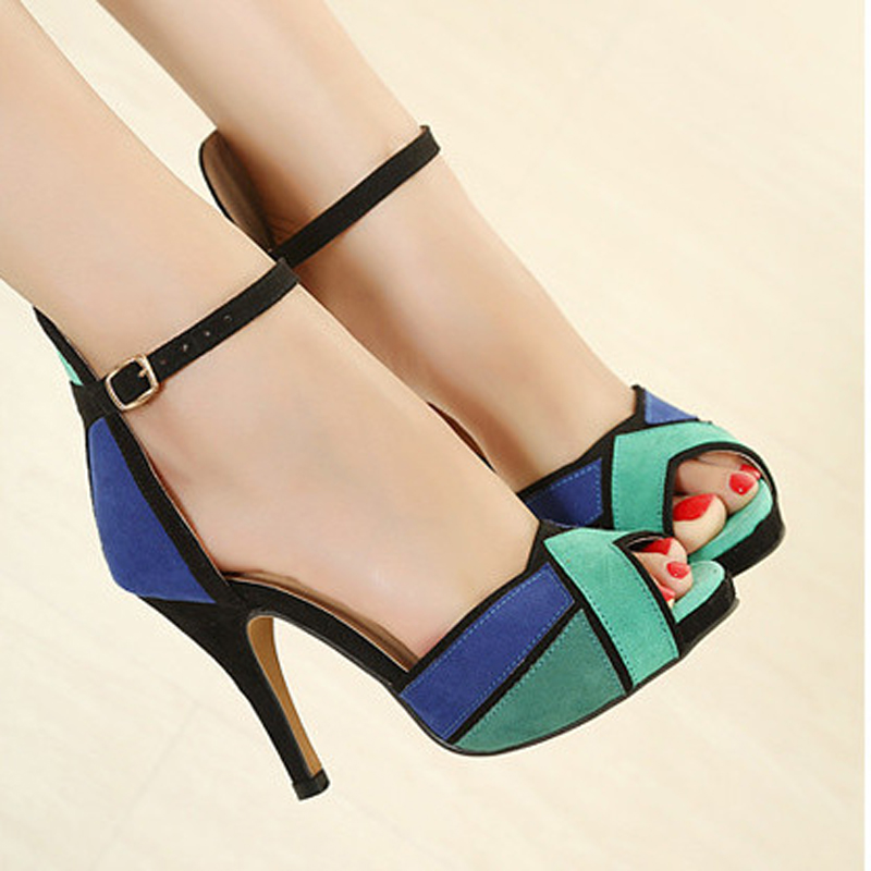 2016 summer spell of European and American temperament fish mouth with sandals Sexy high-heeled sandals