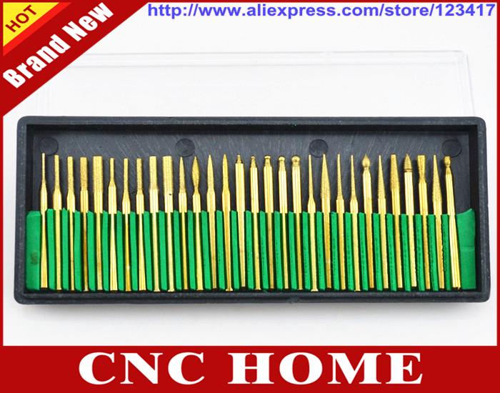 Free Shipping 30 pcs/set 3MM Titanium Diamond Burrs Bur Bit Set Dremel Rotary Tool Drill Bit Power Tools on Rock, Jewelry, Glass(China (Mainland))