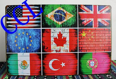 Free shipping 6 Styles National flag tin signs,Vintage metal signs flag of USA UK Brazil Canada wall art decoration ,30x20cm(China (Mainland))