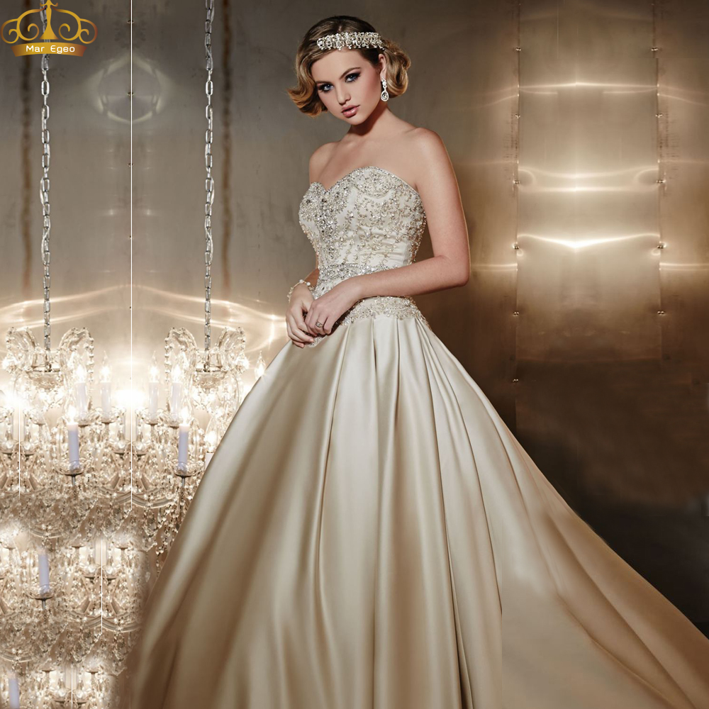 Classy champagne ball gown beading crystals strapless lace for Champagne ball gown wedding dresses