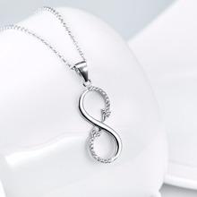 Мода Бесконечность 8 Форма ААА Циркония 925 Серебряные Ювелирные Изделия Ожерелья и Кулоны Мужчины Женщины Себе Necklae Подарок S4N013(China (Mainland))