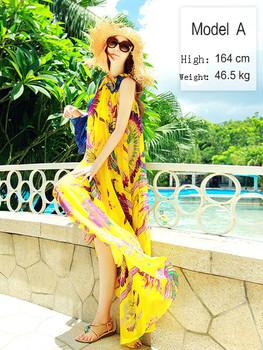 2013 Summer Floral printed chiffon beach dress, yellow Chiffon dress,plus big size large size Bohemia princess dress