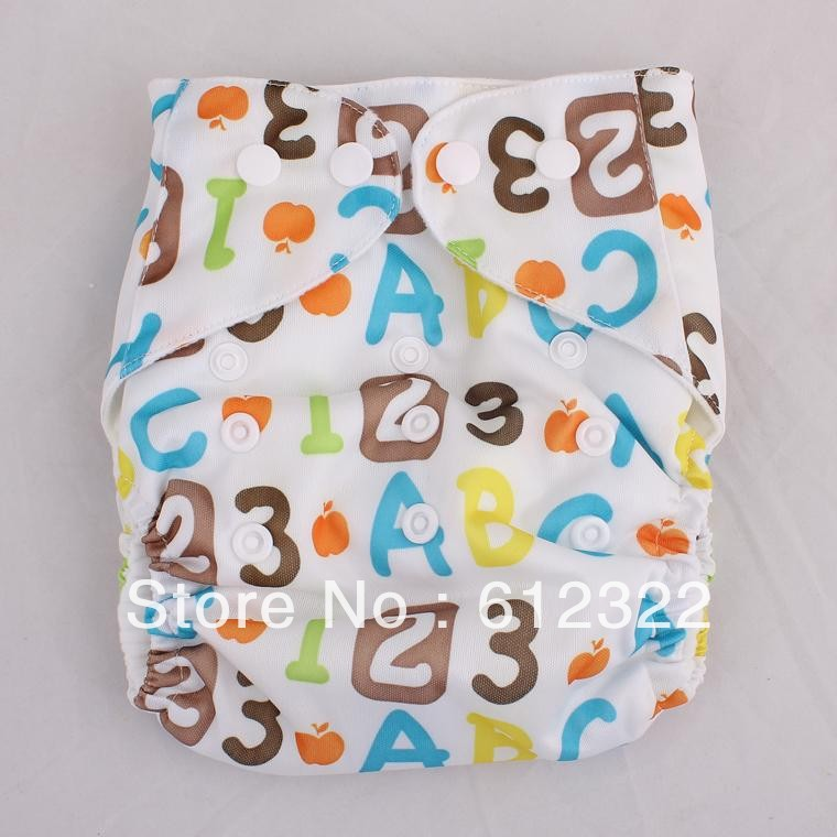 baby diaper Affordable Double Row Snaps Number Printed Cloth Diapers baby brand 5pcs With 5pcs Insert(China (Mainland))