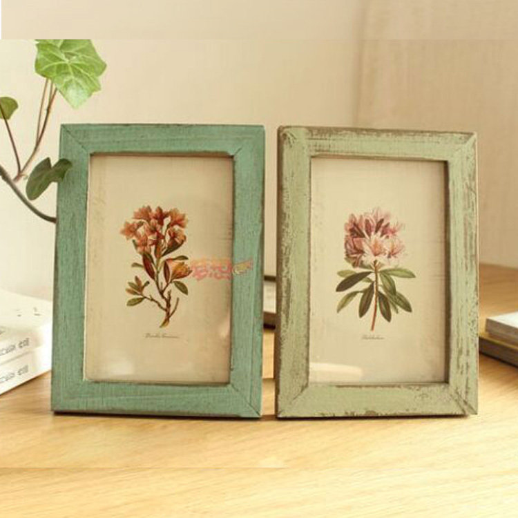 5pcs retro photo picture frame home decor decoration bedroom desk ornament wood wooden wedding Home decoration photo frames