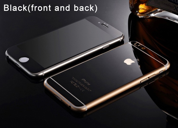Electroplating Mirror Effect Front & Back Tempered Glass Screen Protector Film For Apple iPhone 6 6S 4.7 inch Anti Scratches