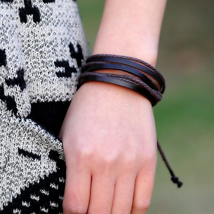 панк-винтажный стиль унисекс веревки цепи натуральная кожа браслеты, браслеты ручной работы коровьей плетеный регулируемая длина Браслеты