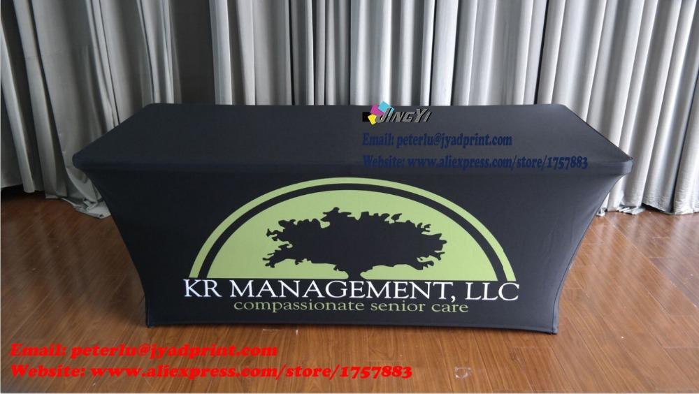 Free Shipping 6ft Custom printed spandex table covers/Company Logo table cover/Spandex table throw/Elasticity Tablecloths(China (Mainland))
