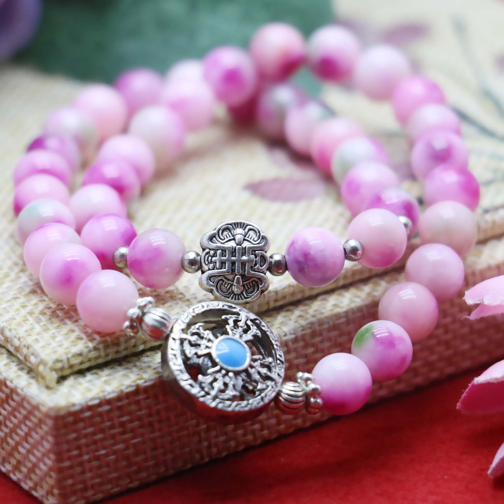8mm Classic Pink Chalcedony Peach stone Bracelet hand chain for women girls Natural Pendant Vajra Bodhi Pendant Double circle(China (Mainland))