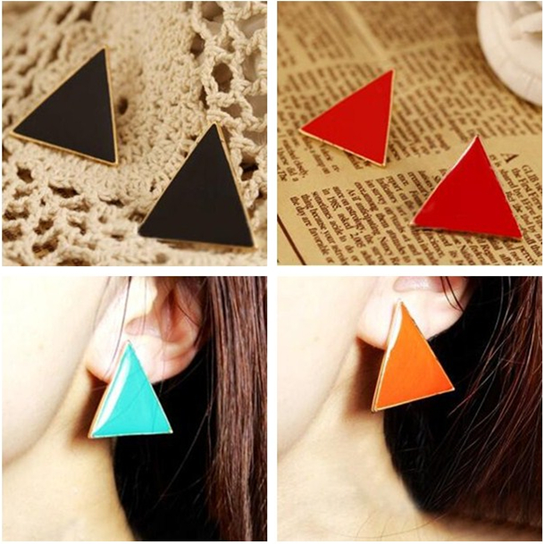ER067 Specials super beautiful new European style stunning color colorful geometric triangle drip earrings candy colors<br><br>Aliexpress