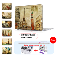 Paris Retro Cards Laptop Computer Bag For Apple Mac book Pro air 15 13.3 11.6 12 Inch Case free ball pen + Keyboard Cover A1466