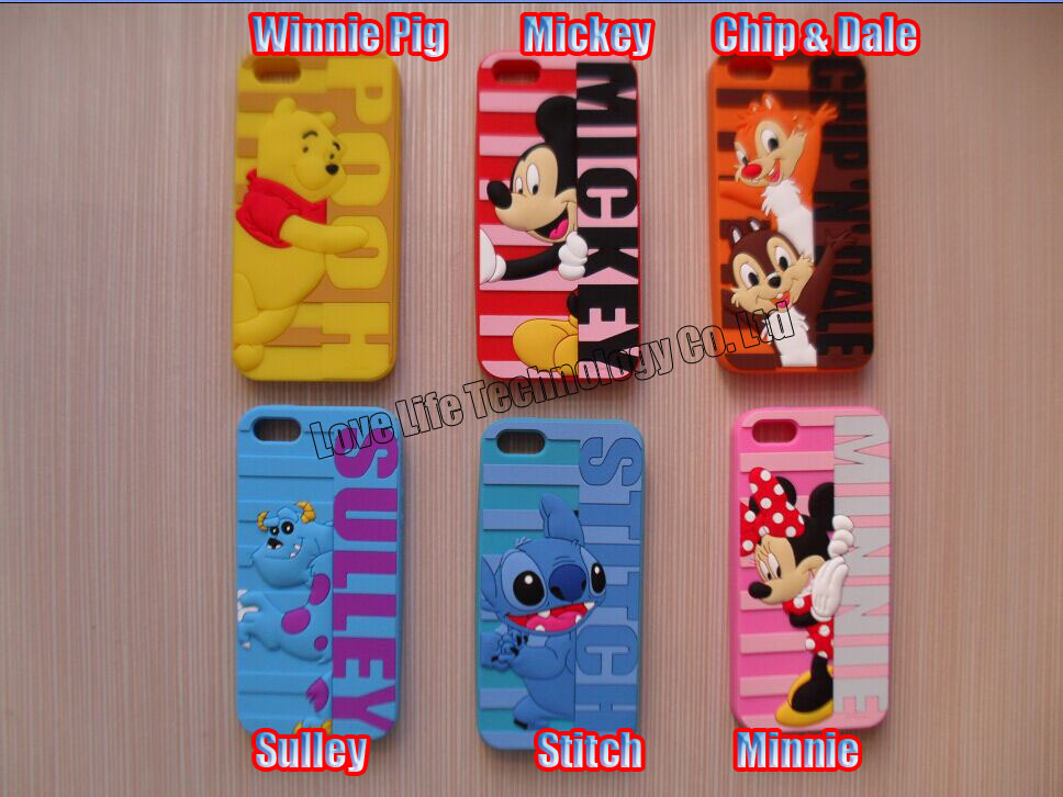 3D Cute Color Chip & Dale Sulley Winnie Pig Minnie Stitch Silicon Cases Covers Skins Shields Housings for iPhone 5 5S 5C(China (Mainland))