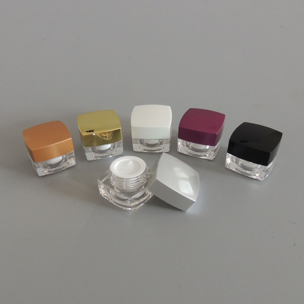 5, 5G 33*28mm empty square acrylic Cream Jar, Clear Plastic Cosmetic Container, Sample Eyeshadow Canister  -  Chengmei Cosmetics Packing store