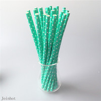 25pcs/lot Polka Dot Green paper drinking straws creative drinking straw Wedding Decorations Birthday Party