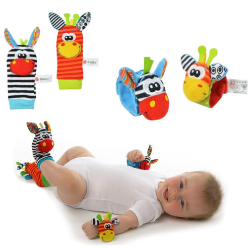 2015 New A Pair Baby Infant Toy Soft Handbells Hand Wrist Strap Rattles/Animal Socks Foot Finders Developmental Toys