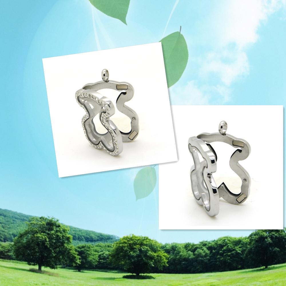 Teddy bear floating locket rhinestone/plain stainless steel memory locket pendant for women 2pcs/lot(China (Mainland))