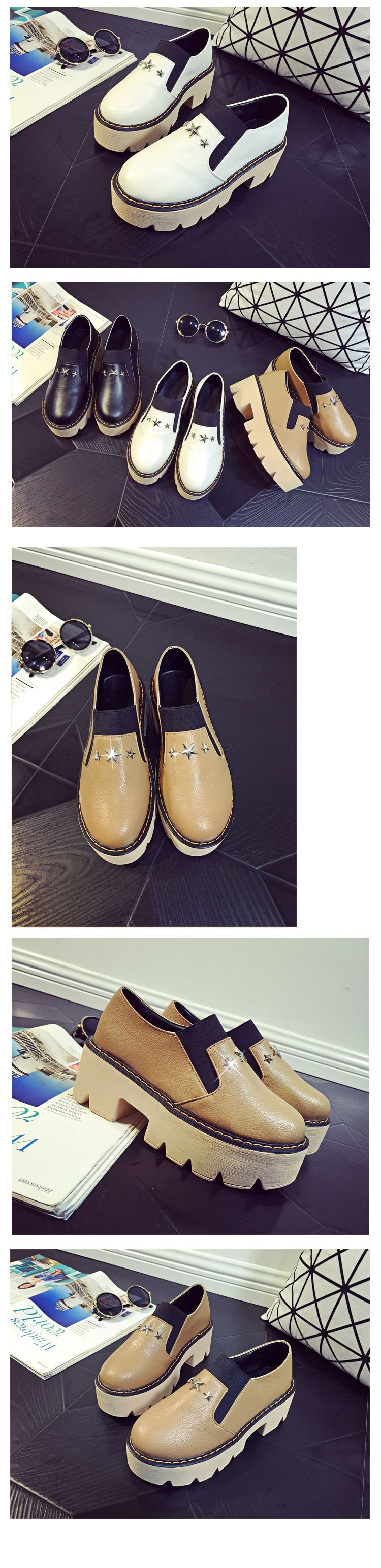New Spring Fashion Style Hot Women Casual Shoes Brown Black White Thick Soled Loafers Flat Shoes a Pedal Lazy Women Shoes ZM3.5