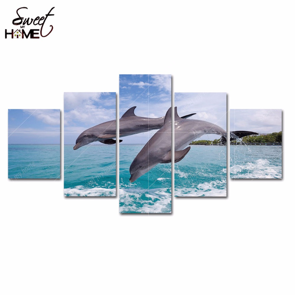 5 Panels Modern Home Decor Bottlenose Dolphins Jumping Pictures Wall Art Living Room Painting Large Canvas Art Unframed(China (Mainland))