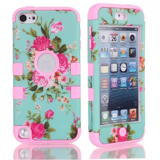 For Apple iPod Touch 5 5TH New Hybrid Impact 3 in 1 Rosaceae Flower Heavy Duty PC Silicone Combo Case Skin Cover(China (Mainland))