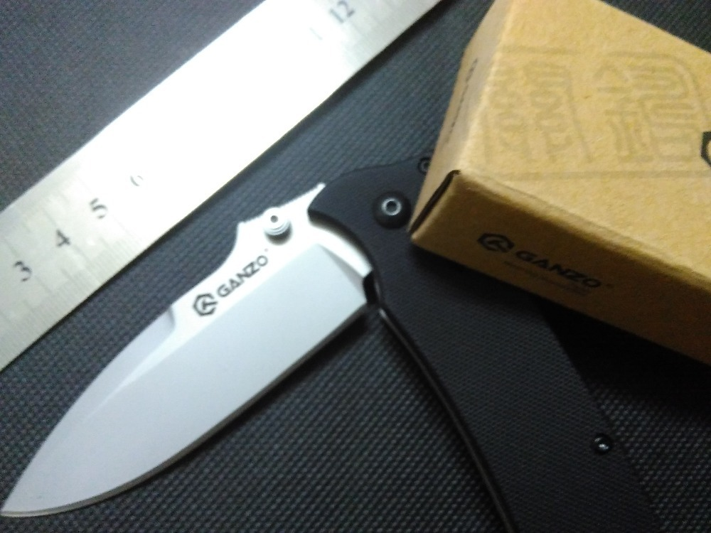 outdoor Ganzo G704 G704B Tan mini pocket Folding Camping Knife Hunting Knife,G10 Handle 440c Blade with bag without box(China (Mainland))