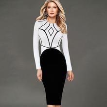 VfEmage Womens Elegant Geometric Symmetrical Colorblock Tunic Cotton Long Sleeve Wear to Work Office Stretch Pencil Dress 1639(China (Mainland))