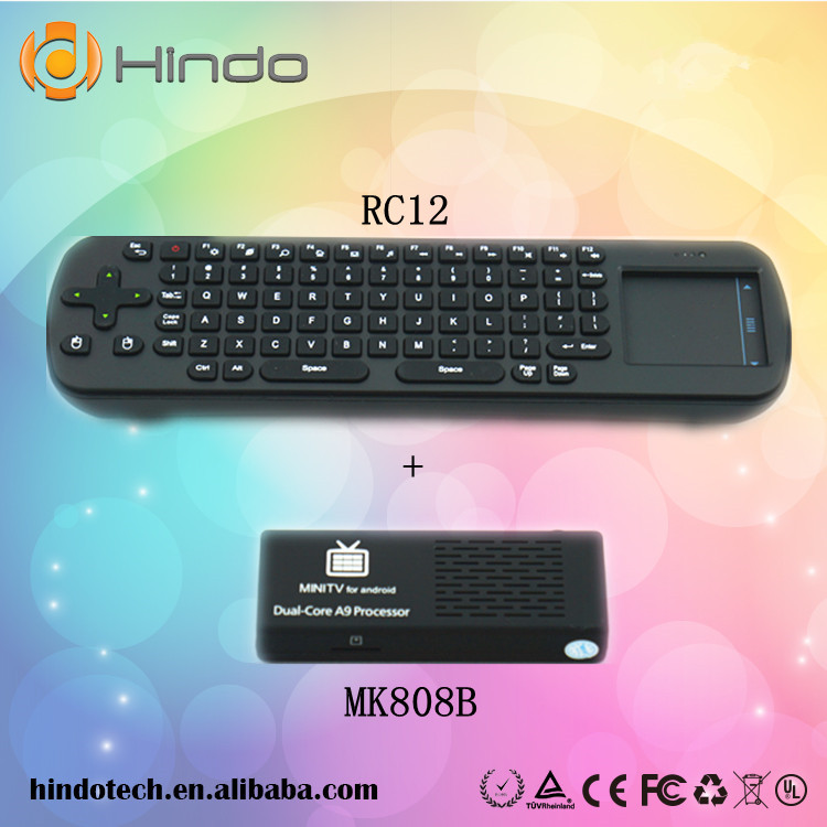 MK808B Android 4.2 Mini PC Dual Core Stick Mini PC TV Dongle MK808 Bluetooth Version With Free RC12 Air Mouse Keyboard Russian(China (Mainland))