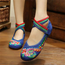 Plus Size 41 Fashion Women Shoes, Old Beijing Mary Jane Flats With Casual Shoes, Chinese Style Embroidered Cloth shoes woman(China (Mainland))