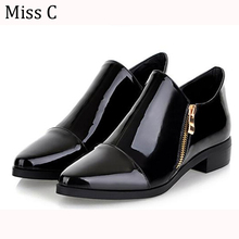 Womens Shoes Flats 2016 Spring Dress Patent Leather Pointed Toe Shoes Double Zipper Oxfords Ankle Boots Big Size 34-42 WFS76(China (Mainland))
