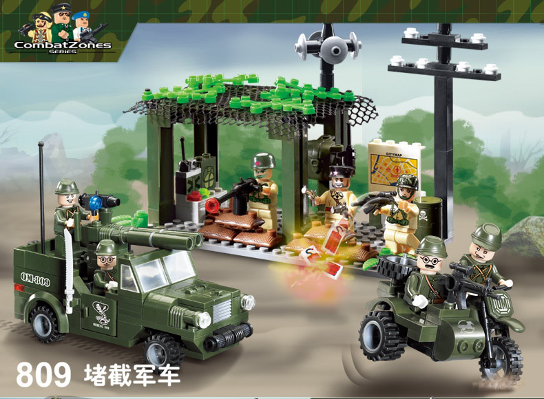 building block set compatible with lego military Intercept vehicle 3D Construction Brick Educational Hobbies Toys for Kids<br><br>Aliexpress