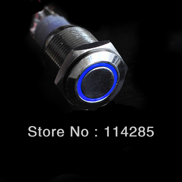 2pc/lot  12V 16mm Angel Eye Push Button ON OFF Switch Auto Car Metal Switch Blue LED