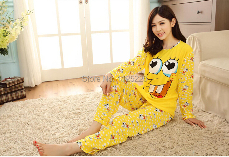 Fashion autumn winter women's pajamas set,new spongebob women clothing set,sweet female lady twinset nightwear sleepwear nightie - On Road from 2014 store