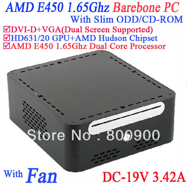 mini pcs barebone computer systems with AMD APU E450 1.65GHz Radeon HD6310 core with DVI-D 19V-DC Slim ODD CD-ROM