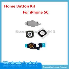 50sets/lot NEW Home Menu Button Key Cap sticker + Flex Cable + Bracket Holder rubber for iPhone 5C Home Button Set Black/White