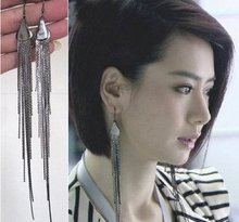 Free ship!10pair!Modification of the long tassels exaggerated earrings /fashion face long earrings(China (Mainland))