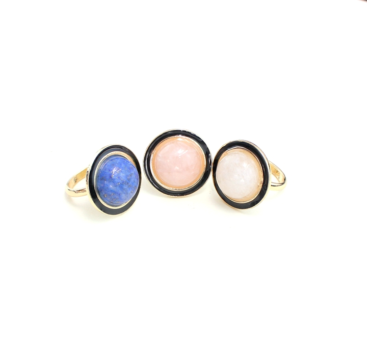 Semi Precious Crystal Black Drops of Oil Ring Powder Green Gold White Stone Ring Gold Plated J.e.w.e.l Crew Inspired(China (Mainland))