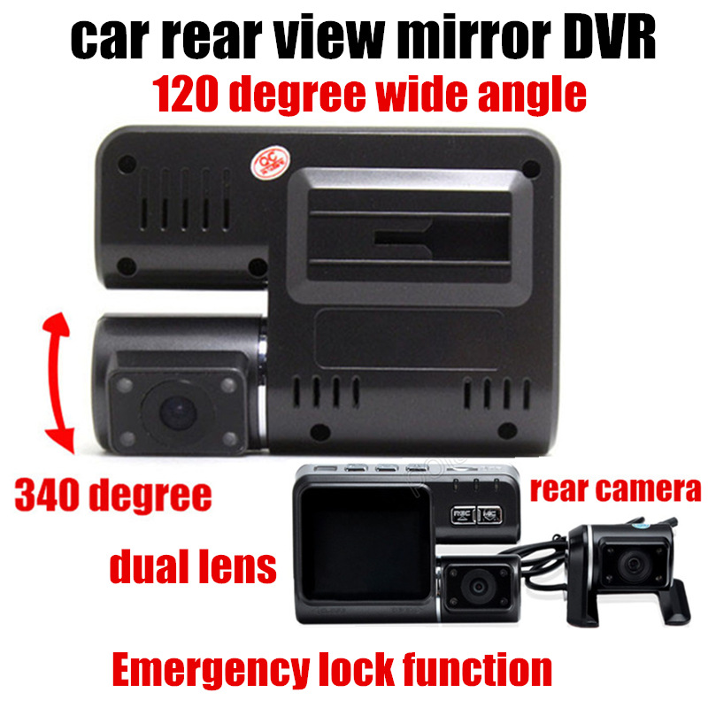 Dual Lens Car DVR With Rear view camera Car video Recorder camcorder 2 inch monitor 120 degree wide angle<br><br>Aliexpress