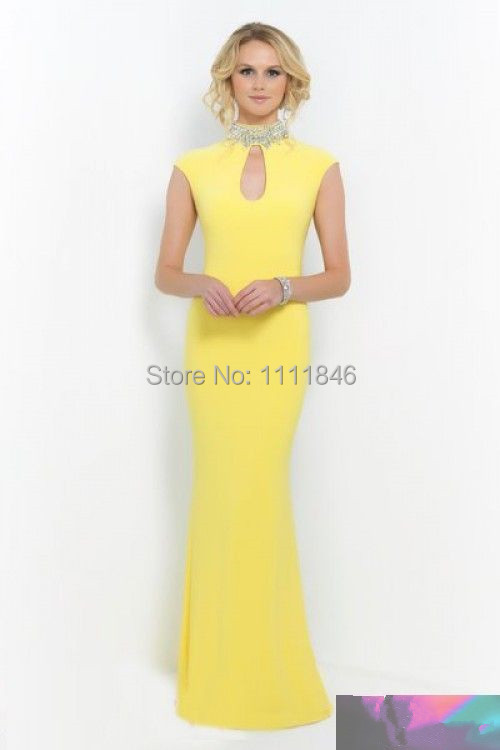 jewelry high neck yellow evening dresses capped