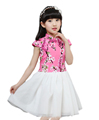 2016 Chines Style Girl Kids Dress Embroidery Plum Cute Girls Knee Length Dress for Children 4