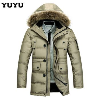 Новинка 2015 с капюшоном мужская зимняя куртки и пальто верхняя одежда долго меховой воротник утка пуховик мужчин CCC398S