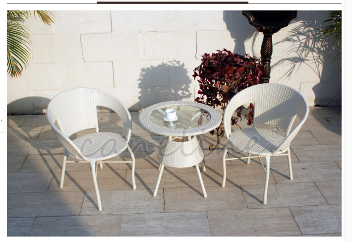Cane cany chair three-piece tea table Outdoor furniture cany chair recreational chair the balcony combination covered five times(China (Mainland))